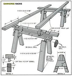 Sawhorse Racks. Popular Mechanics, circa May 1982, page 113