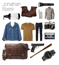 """""""Jonathan Byers"""" by katrinakaw ❤ liked on Polyvore featuring Topman, Pentax, Urban Pipeline, Skagen, Go Under, FOSSIL, Smith & Wesson, 5.11 Tactical, Tonino Lamborghini and Columbia"""