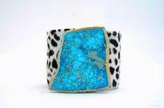 snow leopard hair on hide cuff bracelet by FineAndFunkyJewelry, $45.00