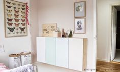 Ivar cabinets with pastel fronts