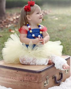 "Princess Halloween Costume - ""Tutu Cute"" Snow White Inspired - Girl Toddler Baby Infant Newborn Halloween Costume"