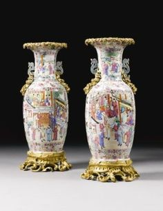 A large Pair of Gilt-Bronze Mounted Chinese export Famille Rose Porcelain Vases,  Circa 1890