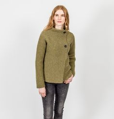 Fisherman Out of Ireland Two Button Ladies Cardigan Donegal, Cardigans For Women, Knitwear, Ireland, Turtle Neck, Buttons, Pullover, Lady, Collection