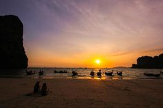 railay beach in krabi town, thailand as on of 12 spots for sensational sunsets Railay Beach Krabi, Playa Railay, Vacation Places, Vacation Spots, Places To Travel, Oh The Places You'll Go, Places To Visit, Krabi Town, Seychelles