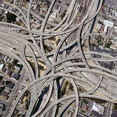 Dallas, Texas, USA, interchange. Looks like a child got a hold of a cement crayon and doodled it out!!!