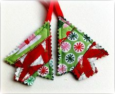 Christmas Tree Ornaments. Loved these- they turned out great and were easy to make with scraps from making our Christmas stockings.