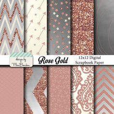 Pink /& Rose Gold Marbled Digital Papers Commercial Use OK. Instant Download 12 x 12 High Resolution Jpeg Files