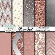 Rose Gold digitale Papier Hintergründe Pack - 12 x 12 - Rose, Creme, Silber, Metallic-sofort zum DOWNLOAD