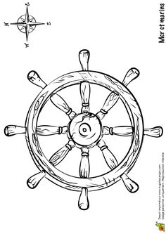 Ship Wheel Tattoo, Birthday Event Ideas, Pirate Cartoon, Ocean Drawing, Small Tats, Tattoo Zeichnungen, Nail Tattoo, Compass Rose, Colouring Pages