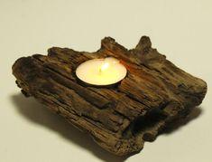 Single Tea Light Driftwood Candle Holder, Coastal Cottage, Rustic Beach Wedding Decor, Natural Drift Wood Table Decoration