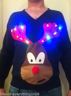 Light up reindeer Christmas jumper Christmas Jumpers, Christmas Sweaters, Reindeer Christmas Jumper, Novelty Lighting, Christmas Knitting, All Things Christmas, Light Up, Graphic Sweatshirt, Pets