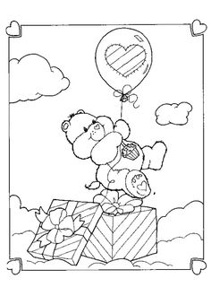 Care Bear birthday gift coloring page