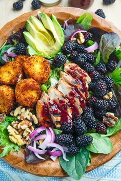 Blackberry Balsamic Grilled Chicken Salad with Crispy Fried Goat Cheese *No fried goat cheese :(*
