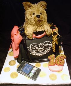 Sweet 16 Birthday Cake with the Birthday Girl's Dog coming out of a purse