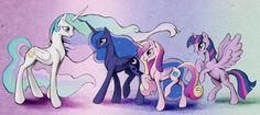 Princess Celestia, Princess Luna, Princess Cadence, and Princess Twilight Sparkle. Not Alone Anymore by SilFoe on deviantART.