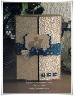 Gatefold Wedding card with vanilla and blue cardstock.  Find your favorite color combo at www.cardstockshop.com.