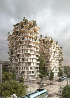 Image 1 of 22 from gallery of Sou Fujimoto and Laisné Roussel Propose Wooden Mixed-Use Tower for Bordeaux. Exterior Rendered View. Image © SOU FUJIMOTO ARCHITECTS + LAISNÉ ROUSSEL + RENDERING BY TÀMAS FISHER AND MORPH.