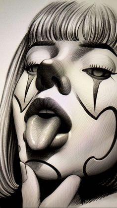 Chicano Drawings, Dark Art Drawings, Sexy Drawings, Tattoo Design Drawings, Art Drawings Sketches, Tattoo Sketches, Chicanas Tattoo, Clown Tattoo, Body Art Tattoos