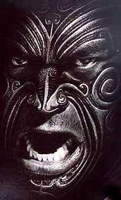 Māori Warrior with full facial Moko