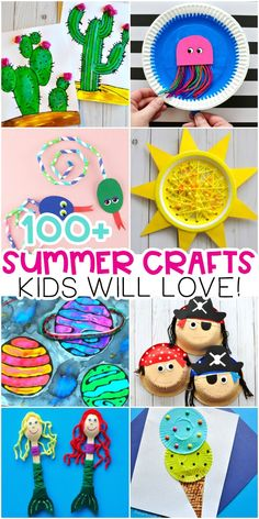Easy Summer Crafts for Kids -100+ Arts and Crafts Ideas for all ages. Summer crafts for Kids - Easy arts and crafts ideas and summer activities. Animal crafts, ocean crafts, pirates and mermaids, beach crafts and more. #iheartcraftythings #summercraftsforkids