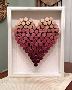 Ombre Wine Cork Heart Shadowbox by BurgundyRibbonDesign on Etsy . - Ombre Wine Cork Heart Shadowbox by BurgundyRibbonDesign on Etsy Be - Wine Craft, Wine Cork Crafts, Wine Bottle Crafts, Diy Deco Rangement, Cork Heart, Wine Cork Art, Wine Cork Frame, Wine Cork Wreath, Wine Cork Projects