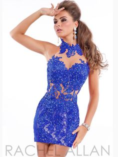 Fully Lace Beaded Accent High Collar Corset-like Mini Rachel Allan 6657 Homecoming Dress