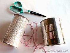 How to Turn a Can into a Giftable Planter ~ Creative Green Living Recycle Cans, Recycling, Country Chic Cottage, Herb Planters, Plastic Spoons, Bakers Twine, Burlap Ribbon, Inexpensive Gift, Recycled Crafts