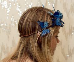 Blue Woodland Butterfly Crown - princess, fairy, renaissance,sapphire,forest. $27.00, via Etsy.