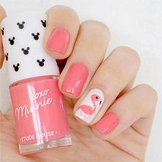 DIY Flamingo Nail Art | 23 Spring Nail Art Designs, check it out at http://makeuptutorials.com/nail-designs-spring-nail-art/