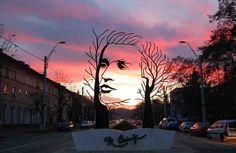 "Eye-catching metal sculpture entitled ""Mihai Eminescu,"" seen on a main street in Onesti, Romania Louise Bourgeois, Robin Wight, Performance Artistique, The River, Street Art, Land Art, Public Art, Urban Art, Monuments"