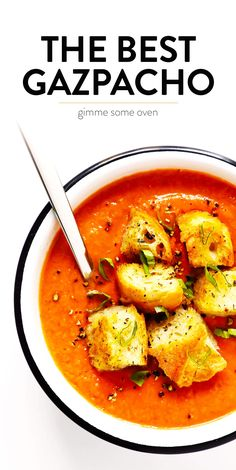 The BEST authentic gazpacho recipe! It's made with the best summer ingredients -- ripe tomatoes cucumber bell pepper onion garlic plus the perfect balance of seasonings. Naturally healthy gluten-free and vegan and so delicious! Authentic Gazpacho Recipe, Gazpacho Recipe With V8, Healthy Gazpacho Recipe, Vegetarian Recipes, Cooking Recipes, Healthy Recipes, Authentic Spanish Recipes, Food Dinners, Vegan Recipes