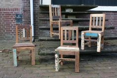 Kinderstoeltjes van sloophout