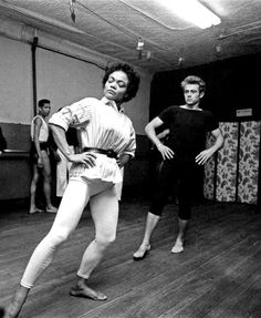 James Dean and Eartha Kitt learning ballet in 1955, photographed by Dennis Stock.