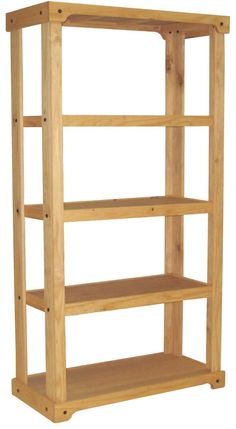 Wooden Retail Shelving Unit With 3 Shelves Open Back Oak Finish Great For Kitchen Pantry Organization Or Holding Bookagazines Even