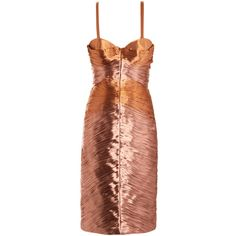BURBERRY PRORSUM Metallic lam? pleated bustier dress ($1,625) ❤ liked on Polyvore featuring dresses, burberry, vestidos, short dresses, pink, pink cocktail dress, pleated cocktail dress, pleated mini dress, pink mini dress and brown cocktail dress