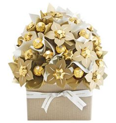 Gold chocolate bouquet with Ferrero Rocher chocolates, could make for auction item?