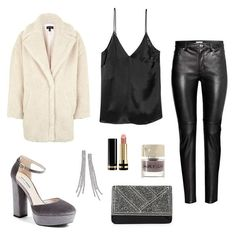 Wear leather pants, a silky cami, velvet heels, and an oversize teddy soft coat for your next night out. Accessorize with a sparkly clutch and earrings.
