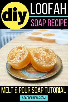DIY loofah soap. Easy homemade melt and pour soap recipe for beginners for make and take crafts or DIY gifts. This easy homemade exfoliating loofah soap recipe makes a fun weekend soap crafting project you can create with the kids for DIY gifts for family & friends. Easy beginner soap making recipe. How to make exfoliating loofah soaps for natural skin care. Melt and pour soap recipe with exfoliating loofah to exfoliate skin. Homemade skin care recipes the family can craft together. #soap