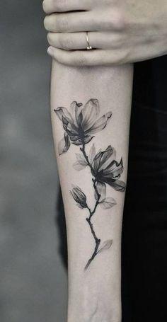 Watercolor Black Magnolia Forearm Tattoo Ideas for Women - www.MyBodiArt.com #tattoos