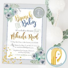 Baby Shower Brunch Invitation // Baby Boy Baby Shower Invitation // Boy Baby Shower Brunch Invitation // Watercolor Baby Shower Invite // Blue Grey Green Baby Shower Invitation // Blue Grey Green Baby Boy Invitation // Floral Brunch Invitation // Brunch Invitation by SoCalCrafty on Etsy. Printed on heavy card stock or printable. $16+