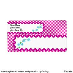 Yellow Flower Gingham Background Shipping Label  Shipping Label