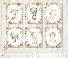 Bunny Bear Deer Fox Woodland Boho Bohemian Floral Nursery Baby Girl Room Lot Set 6 Prints Printable Print Wall Art Home Decor
