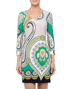 3/4-Sleeve Paisley-Print Shift Dress by Ali Ro at Neiman Marcus Last Call.
