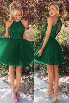 Green homecoming dress, short prom dress, round neck simple party dress, Shop plus-sized prom dresses for curvy figures and plus-size party dresses. Ball gowns for prom in plus sizes and short plus-sized prom dresses for Green Homecoming Dresses, Grad Dresses Short, Gold Prom Dresses, Prom Dresses For Sale, Tulle Prom Dress, Prom Party Dresses, Evening Dresses, Bridesmaid Dresses, Short Prom