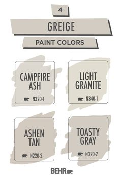 For a warm neutral paint color that you can use throughout your entire home, turn to this greige color palette from Behr paint. A stylish combination of gray and beige, these hues are versatile enough… Greige Paint Colors, Behr Paint Colors, Neutral Paint Colors, Room Paint Colors, Interior Paint Colors, Paint Colors For Home, Wall Colors, House Colors, Interior Design