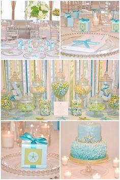Starfish Beach Theme Wedding Cookie Favors Aqua // 12 // Star Fish Party Birthday /Wedding -  $38.