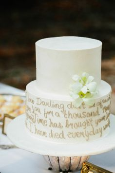 Wedding cake with first dance song lyrics #weddingideas #cakes #weddingcake #dessert #weddingdessert