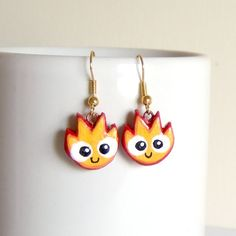 Calcifer clay earrings howl's moving castle by yael360 on Etsy, $7.40