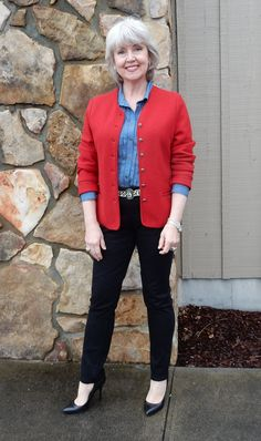 This is my look of the day for Friday. I am wearing black jegging style pants from Chico's with a chambray shirt from Ann Taylor and a red boiled wool Geiger jacket. Black pumps are from Nine West. The animal print pony hair belt is from T.J.Maxx.