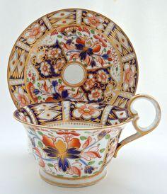 Antique Georgian Duesbury Derby Imari porcelain teacup and saucer.